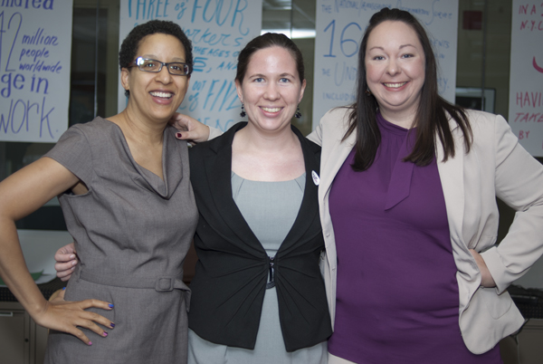 Amy Andre, Lauren Beach, and Sarah Young pose at the National Gay and Lesbian Task Force headquarters in Washington, D.C. before heading to the White House Roundtable Discussion on Bisexuality.
